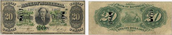 20 dollars 1871 - Bank of Montreal banknotes