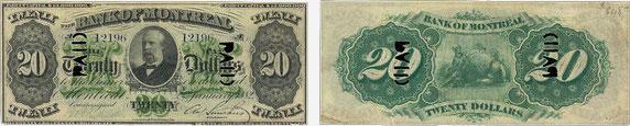 20 dollars 1882 - Bank of Montreal banknotes