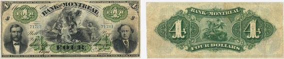 4 dollars 1871 - Bank of Montreal banknotes