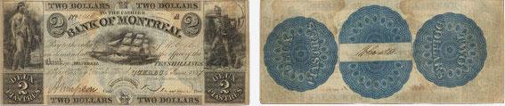 5 dollars 1837 - Bank of Montreal banknotes
