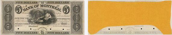 5 dollars 1839 - Bank of Montreal banknotes