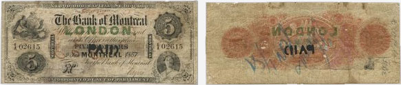 5 dollars 1857 - Bank of Montreal banknotes