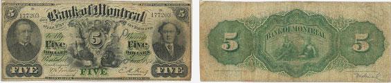 5 dollars 1871 - Bank of Montreal banknotes