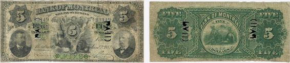 5 dollars 1882 - Bank of Montreal banknotes