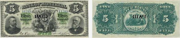 5 dollars 1888 - Bank of Montreal banknotes