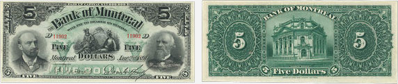 5 dollars 1891 - Bank of Montreal banknotes