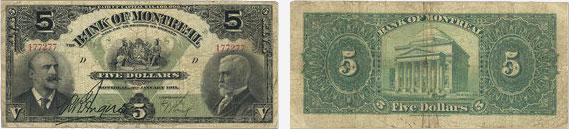 5 dollars 1911 - Bank of Montreal banknotes