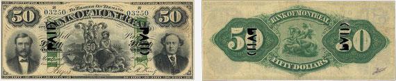 50 dollars 1871 - Bank of Montreal banknotes