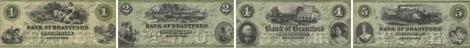 Bank of Brantford banknotes of 1859 - Green