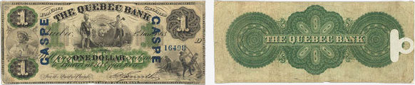 1 dollar 1863 - Quebec Bank