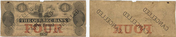 4 dollars 1852 - Quebec Bank