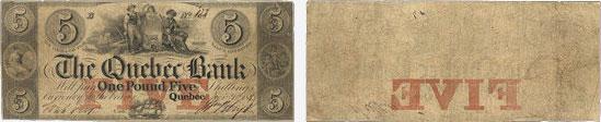 5 dollars 1847 - Quebec Bank