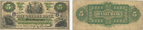 5 dollars 1888 - Quebec Bank