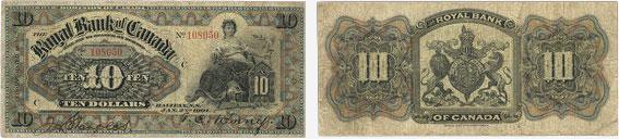 10 dollars 1901 - Royal Bank of Canada banknotes