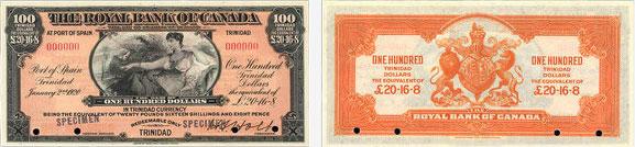100 dollars 1920 - Royal Bank of Canada banknotes