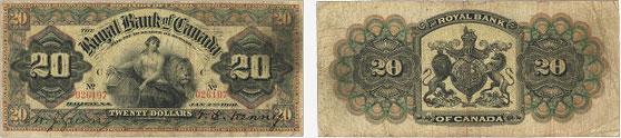 20 dollars 1901 - Royal Bank of Canada banknotes