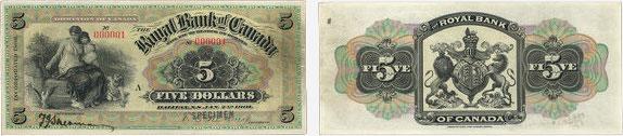 5 dollars 1901 - Royal Bank of Canada banknotes