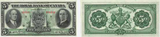 5 dollars 1933 - Royal Bank of Canada banknotes