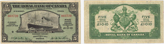 5 dollars 1938 - Royal Bank of Canada banknotes