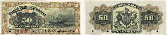 50 dollars 1901 - Royal Bank of Canada banknotes