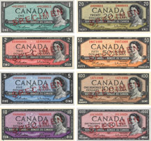 Canadian banknotes of 1954 with the devil's face