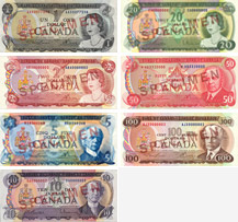 Canadian banknotes from 1969 to 1975