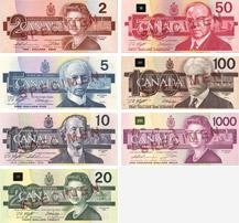 Billets de banque du Canada de 1986 à 1991