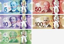 Canadian banknotes from 2011 to 2018