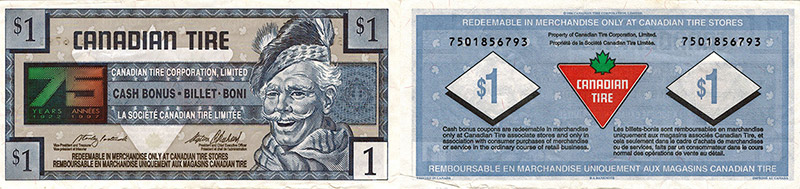 1 dollar - Canadian Tire - 75 years - 1996