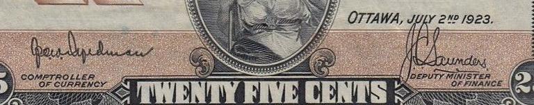 25 cents 1923 - Hyndman-Saunders - Dominion of Canada