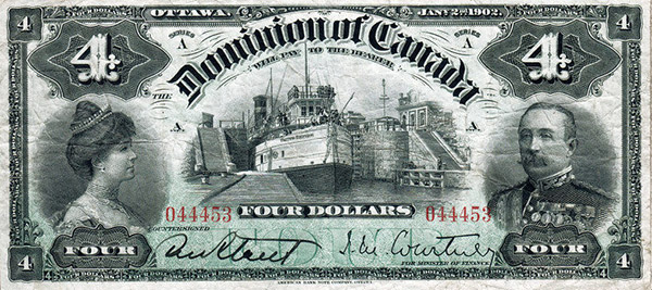 4 dollars de 1902 - Dominion of Canada - Courtney