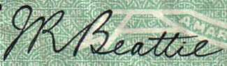 J.R. Beattie - Signature on canadian banknote