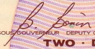 B. Bonin - Signature on canadian banknote