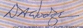 D. Dodge - Signature on canadian banknote