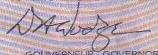 D. Dodge - Signature sur les billets du Canada