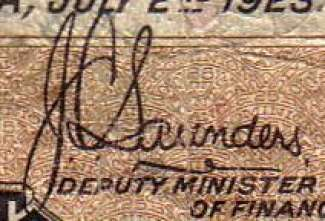 J.C. Saunders - Signature on canadian banknote