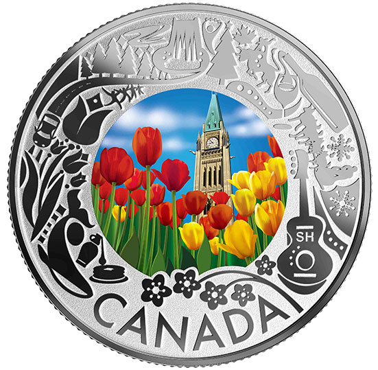 Pure Silver Coloured Coin - Tulips: Celebrating Canadian Fun and Festivities
