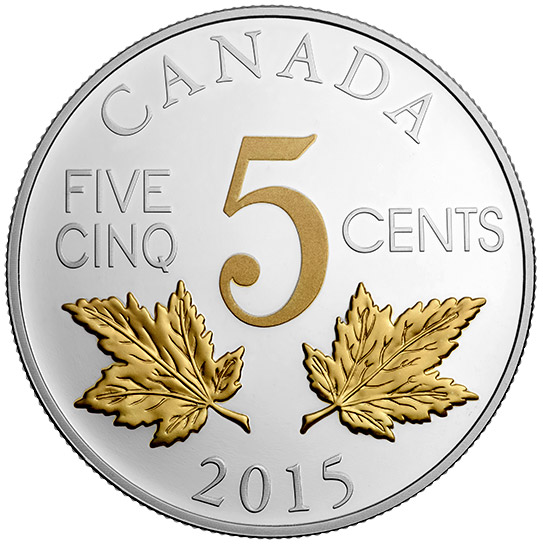 1 oz. Fine Silver Gold-Plated Coin - Legacy of the Canadian Nickel: The Two Maple Leaves