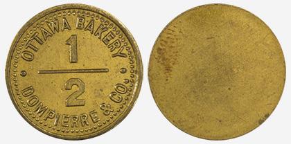 A.J. Dompierre - Ottawa Bakery - 1/2 loaf - 1891 - Brass