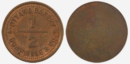 A.J. Dompierre - Ottawa Bakery - 1/2 loaf - 1891 - Copper