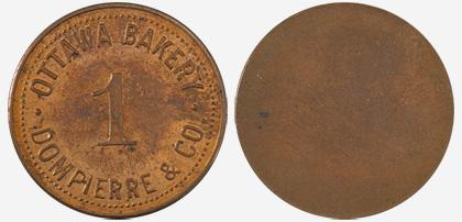 A.J. Dompierre - Ottawa Bakery - 1 loaf - 1891 - Copper