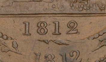 Thomas Halliday - 1 penny 1812 - Double date