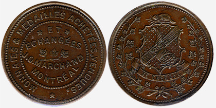 J.O. Marchand - Collectionneur - Montreal - 1893 - Collectionneur des monnaies canadiennes