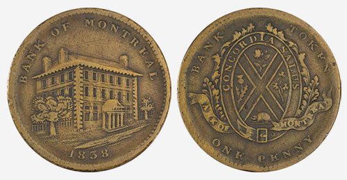 Bank of Montreal - 1 penny 1838 - Brass