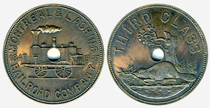 Jeton de train - Railroad Company - Montr�al & Lachine - Bronze
