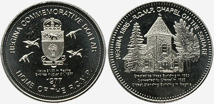 Regina - Commemorative Dollar - 1977 - Regina 1895 - R.C.M.P. Chapel on the Square