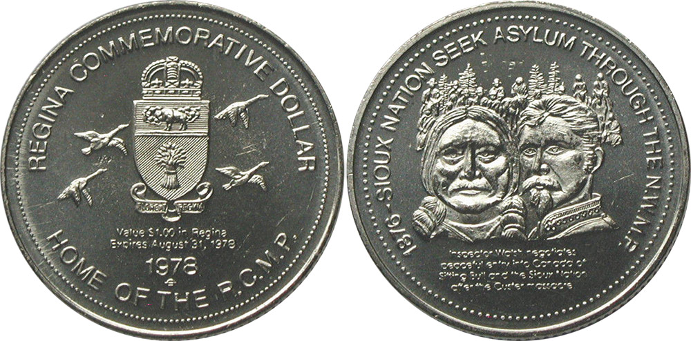 Regina - Commemorative Dollar - 1978 - 1876 - Sioux Nation Seek Sylum Through The N.W.M.P.
