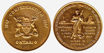 D�veloppement minier - Ontario - 1867-1967 - Brass color