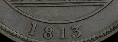 Ship - 1/2 penny 1813 - With date