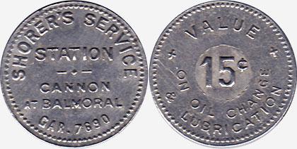 Hamilton - Shorer's Service Station - 15 cents